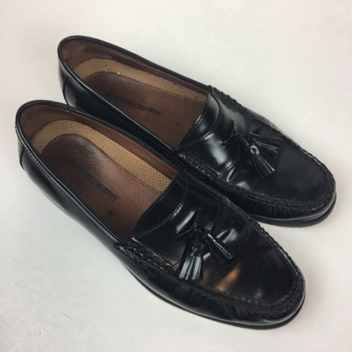 Johnston and Murphy Men's Black Leather Tassel Loafers 20-6285 Men's Size 10 M