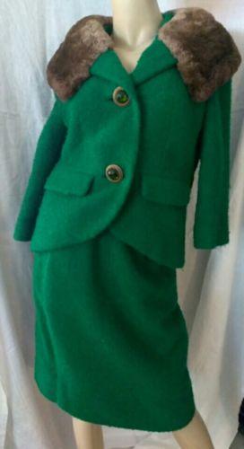 VINTAGE 1950'S CUSTOM BOUCLE WOOL Skirt Suit Emerald Jackie O Lined Metal Zip