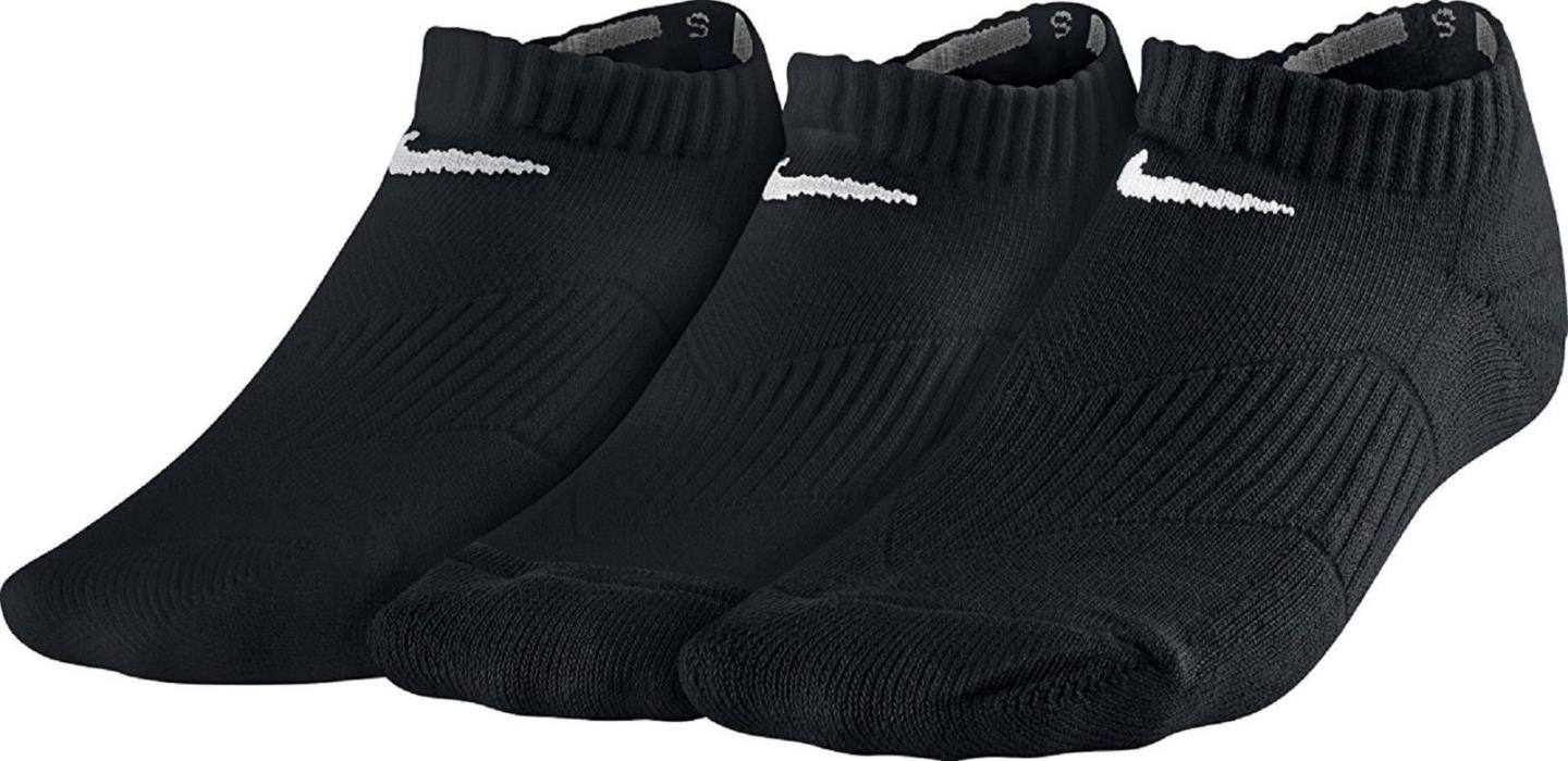 Nike Boys Cotton No Show 3-Pack Socks SX4721-001 Black White US Size Small