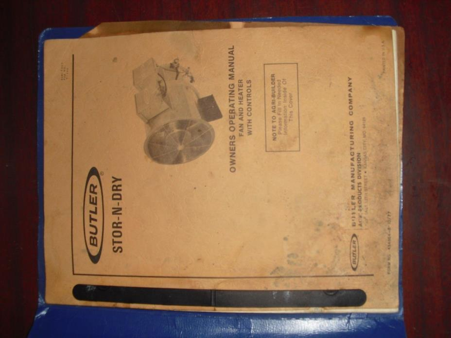 butler stor n dry stor-n-dry owners operating manual butler manufacturing co