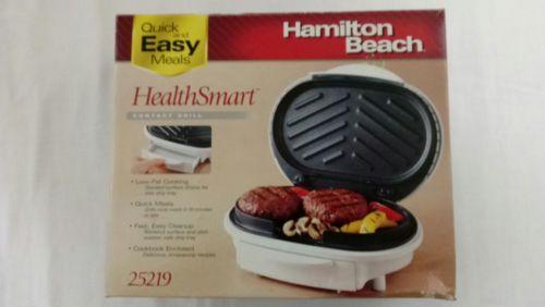 Hamilton Beach Indoor Grill NEW 25219 HealthSmart  Low Fat Cooking NIOB Cookbook