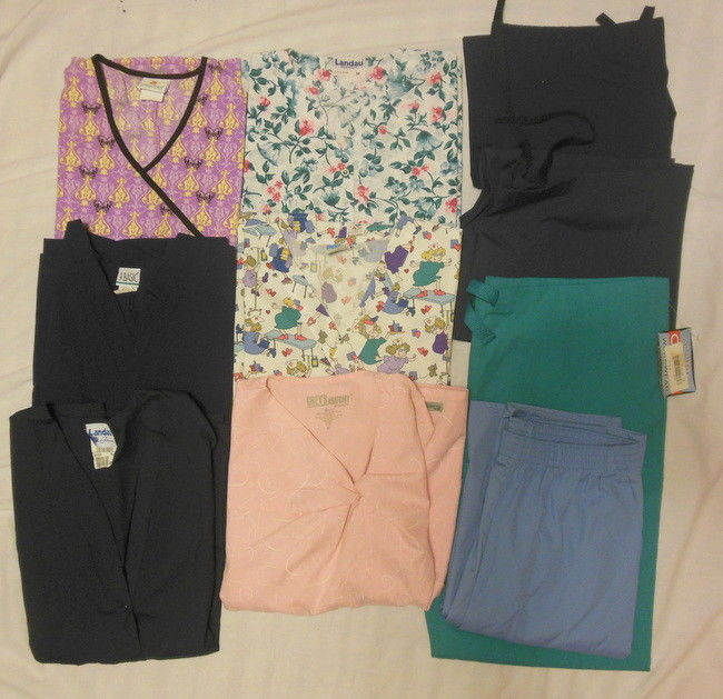 SCRUBS LOT SIZE M (6) TOPS (4) PANTS GREY'S ANATOMY - CREST - PEACHES - LANDAU +