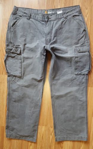 Carhartt 100272 039 Relaxed Fit Rugged Cargo CANVAS Work Pants GRAY Sz 42x29