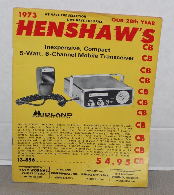 Vintage 1973 Henshaw's CB Transceiver Catalog Ham Radio