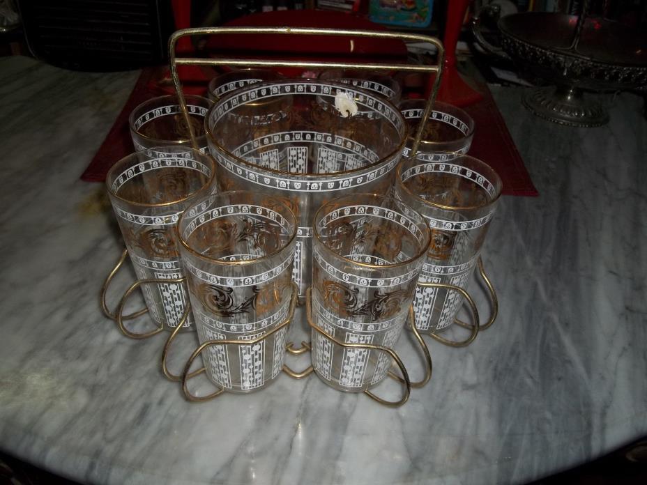 Mid-Century Modern Barware Ice Bucket + Glasses + Caddy Gold White