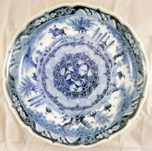 Japanese Arita Blue & White Porcelain Dish. Embossed, Artist Signed. Meiji 12.5