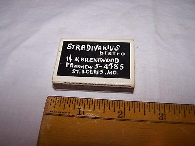 Vintage STRADIVARIUS BISTRO Diamond Wood Matches POCKETBOX St Louis Missouri