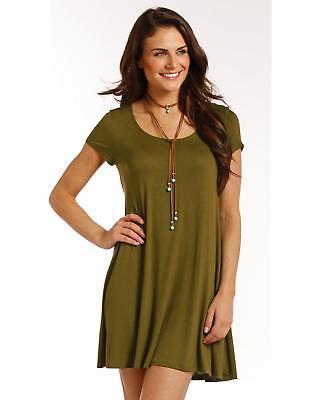 Panhandle Women's Flared Hem Cap Sleeve Dress - J0-4184-OLV