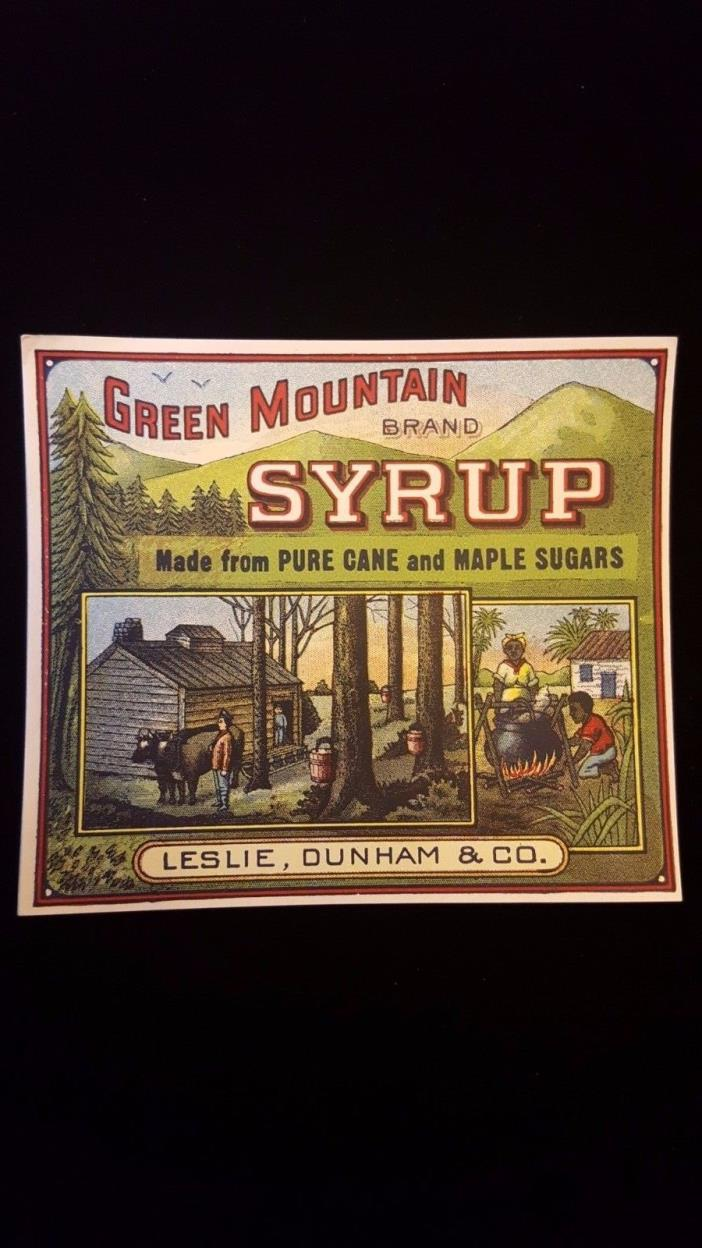 Vintage Advertising Label GREEN MOUNTAIN SYRUP Cane & Maple Black Americana