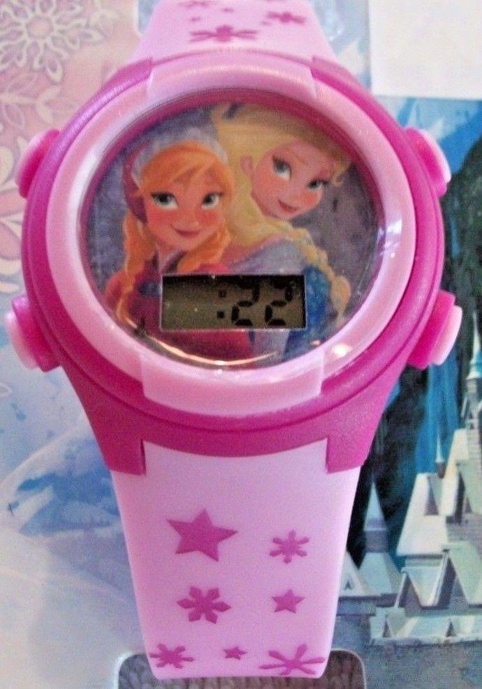 Disney Frozen LCD Pink Plastic Elsa And Anna Wrist Watch