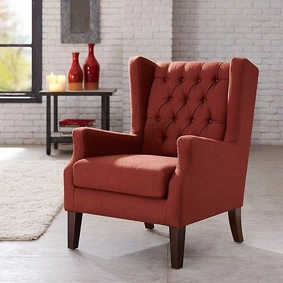 Red Rust Wing Back Chair Button Tufted