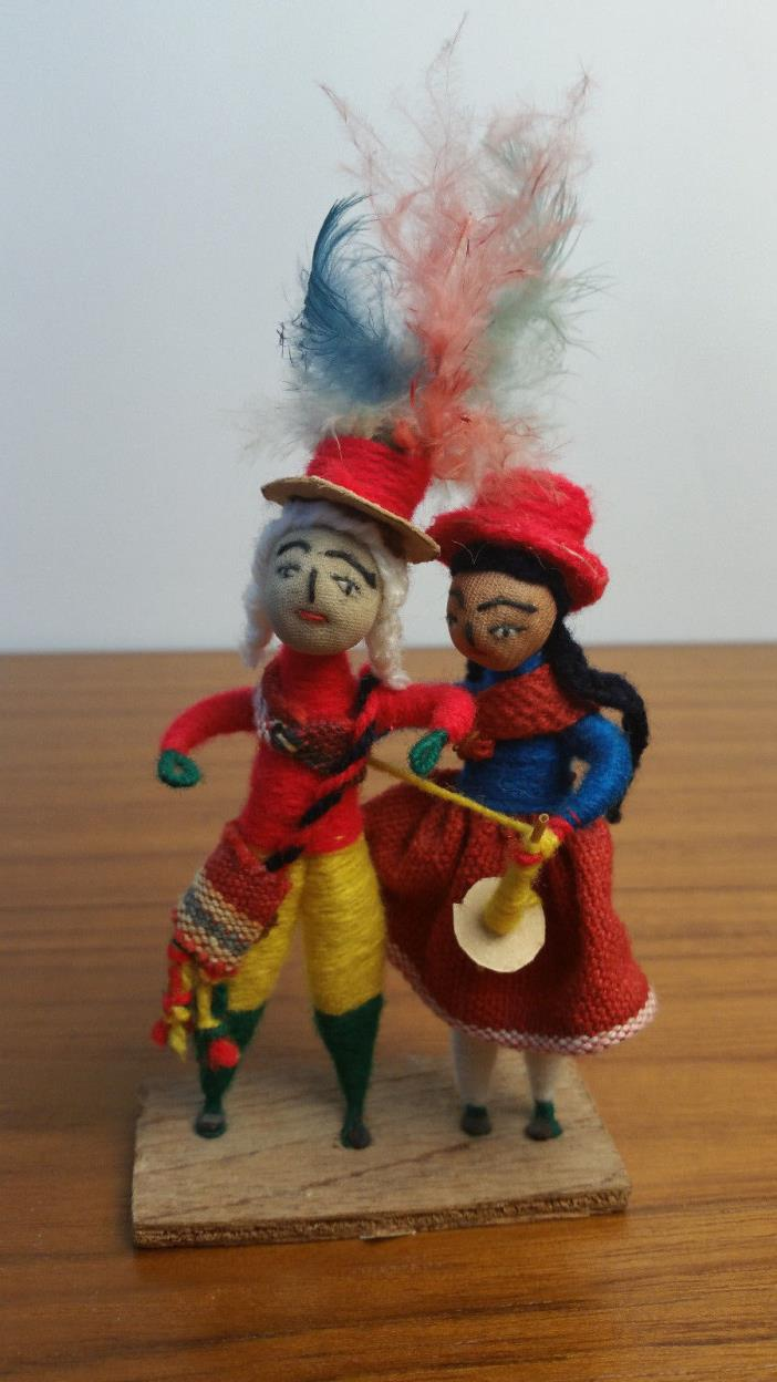 Rare Stand Alone Woman Man with Red Hats Knitting Toys Colorful Statue Handmade