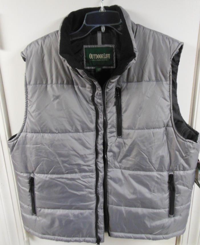New w/ Tags Mens 2XLarge Down Style Silver Puffer Vest Outdoor Life $50 retail