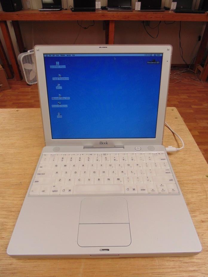 Apple iBook M6497 with Office 2001, 500Mhz Power PC, 256mb ram, OS 9.1, IT WORKS