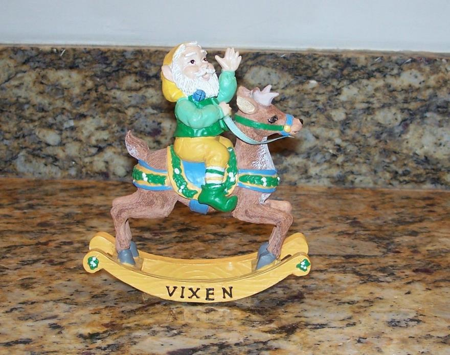 Santa Reindeer Rocking Horse Collection Vixen Christmas Elf Figurine Decoration