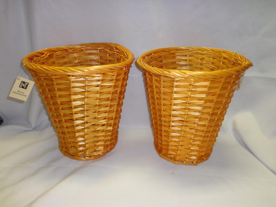 New Linens n Things Lot of 2 Willow Baskets / wastebasket