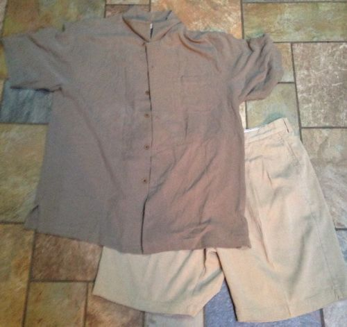 Men's Tommy Bahama 2pc Lot Tan Pleated Sz36x9 Shorts L Gray Button Down Shirt