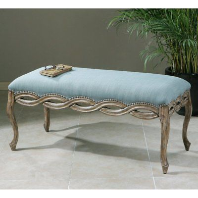 Uttermost Kylia Sky Bench, sky blue/antique bronze
