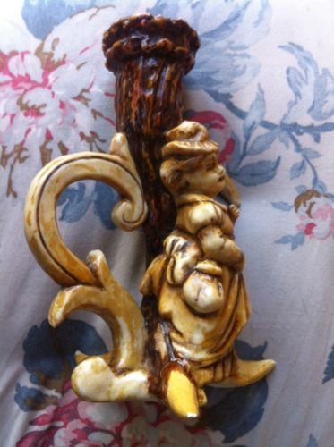 Victorian Antique German Porcelain Pottery Stag Horn Chamber Candle Stick EUC