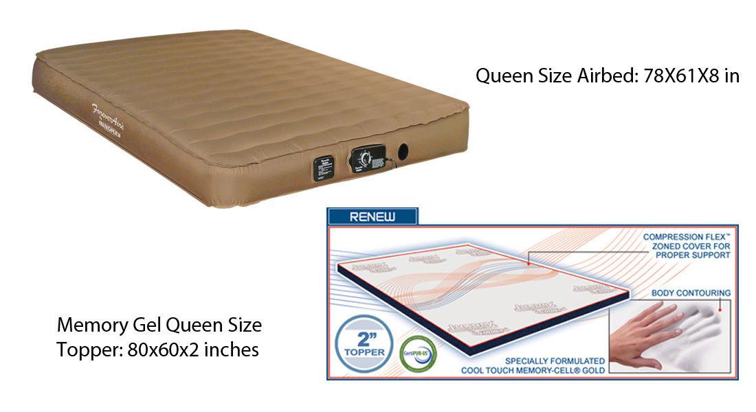 QUEEN Size Airmattress RV Air Mattress Guest and Memory Gel Natural Foam Topper