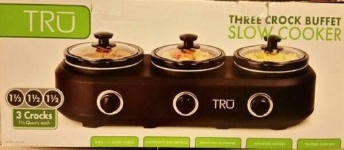 NEW TRU 1.5 Black Three Crock Buffet Slow Cooker