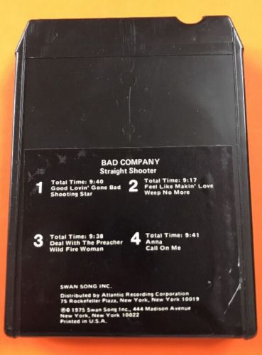 Straight Shooter By Bad Company 8 track tape tested