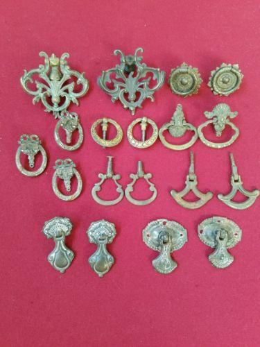 Lot of 19 Antique Brass & Metal Drawer Pulls Handles Eastlake Victorian