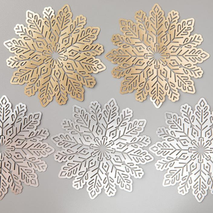 Stampin' Up! Foil Snowflakes Gold Silver 24 Pieces NEW