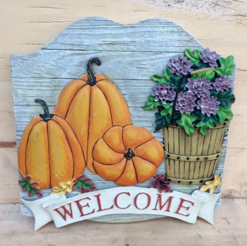 ~ Fall Welcome Sign Plaque ~ Pumpkins, Purple mums, Basket, Leaves