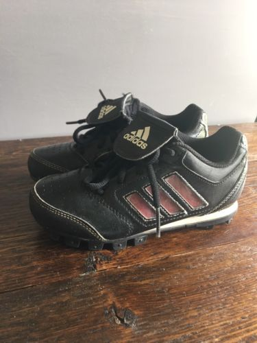 Boys Adidas Baseball Cleats US 12K Youth Sport Shoe Black Red Stripe Preschool
