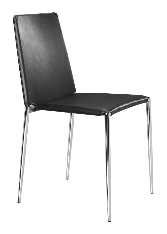 Zuo Set of 4 Alex Modern Dining Chair in Black Finish 101105