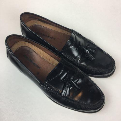 Johnston and Murphy Mens Black Tassel Slip-On Dress Shoes Size 10 EUC!