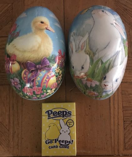 2 Vintage See's Candy Easter Egg Box (es) with Duck & Bunny 2001, + Peeps Cards