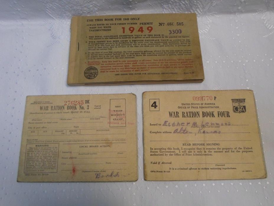 WWII War Ration Books 3 & 4 + Old Fuel Tax Exemption Booklet Kansas 1949