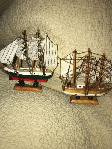 Old Vintage Wooden Sailboat Ships Set Of 2 Model Wood Anchor For Parts Repair
