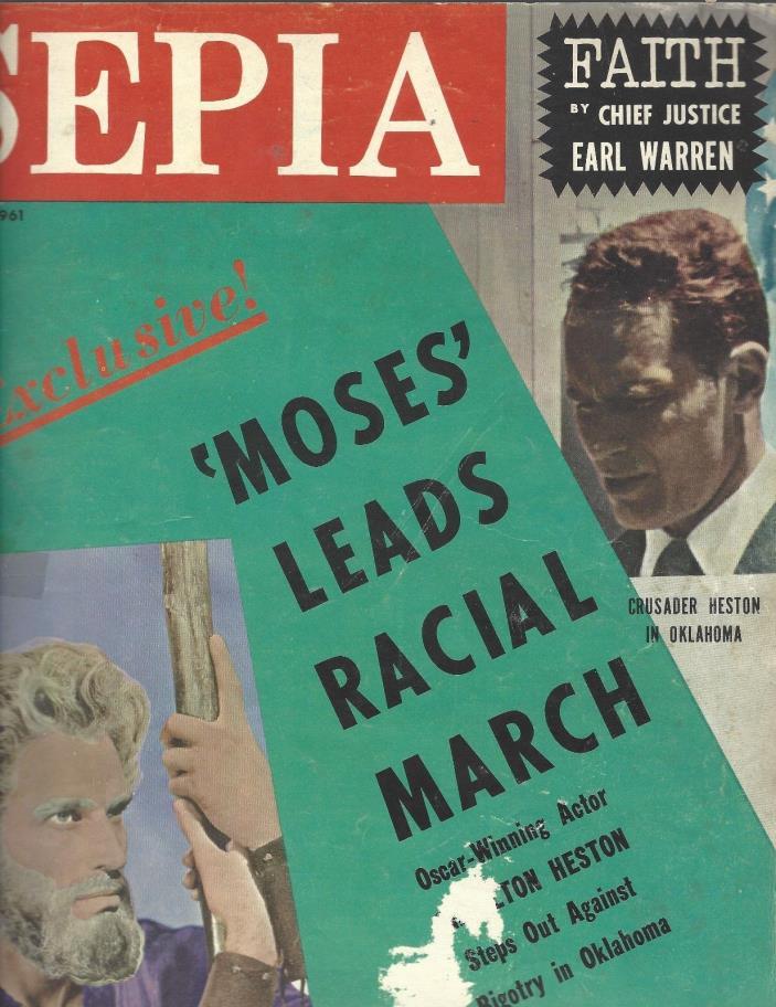 Sepia Magazine Sept 1961 Actor Charlton Heston crusades for racial equality