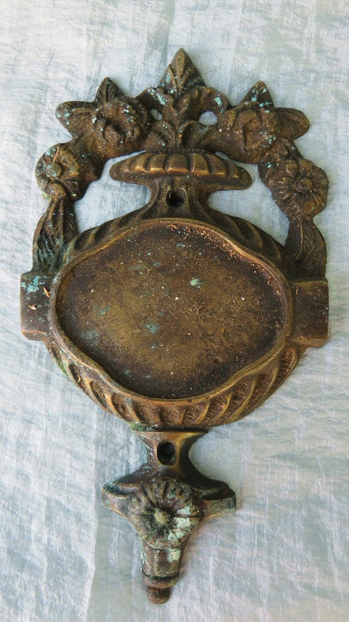 ORNATE Old Vintage Antique CAST BRONZE Urn Flowers Estate Mansion Door Plate