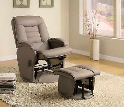 Coaster Glider With Ottoman In Bone Finish 600166