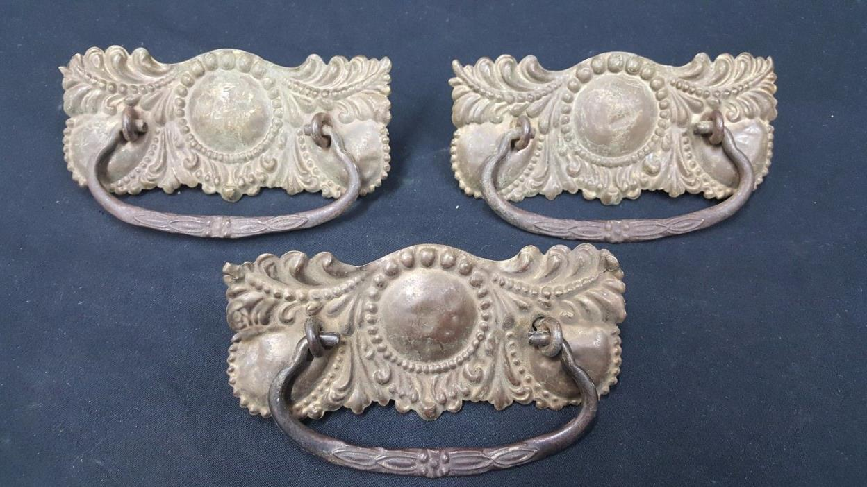 Architectural Salvage Victorian Wide Brass Embossed Drawer Pull Handles Set of 3
