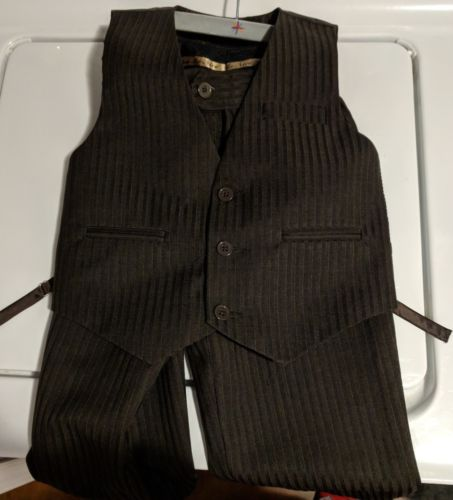 Boys Size 4 dress Suit Dark Brown stripe 2 Piece Vest Pants new church wedding