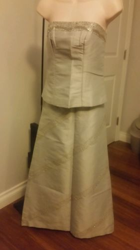 Khmer Traditional Phamoung Fabric Two Piece Gray Dress Size Small Party Wedding