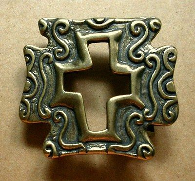 BRASS BELT BUCKLE with Stylized Open Cross Design, Curly-Cues