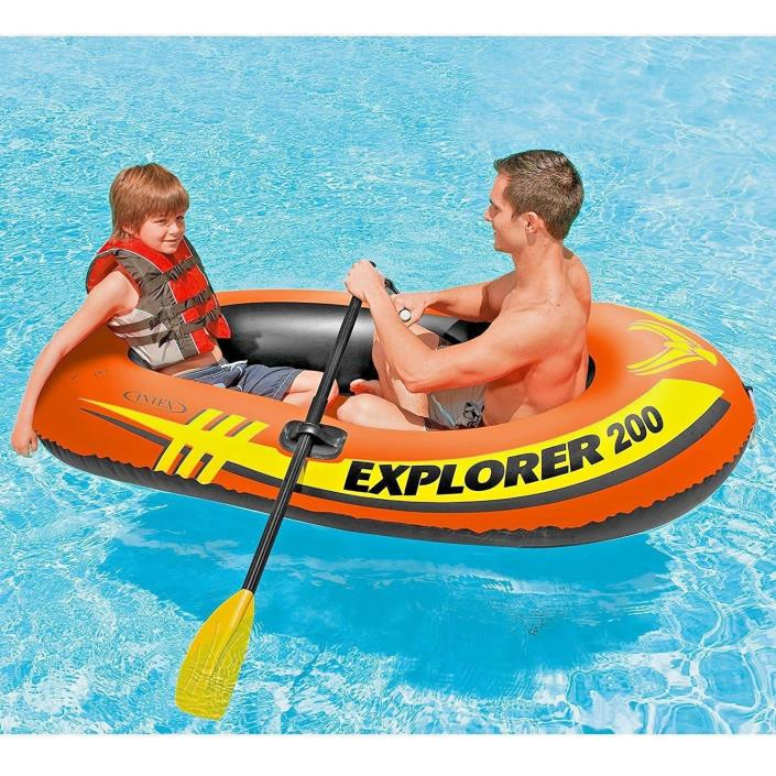 Intex Explorer 200, 2-Person Inflatable Boat Set with French Oars and Mini Air
