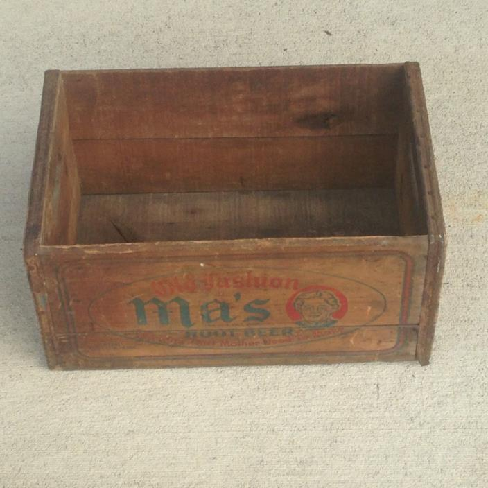 VINTAGE 1941 OLD FASHION MA'S ROOT BEER WOODEN SODA CRATE
