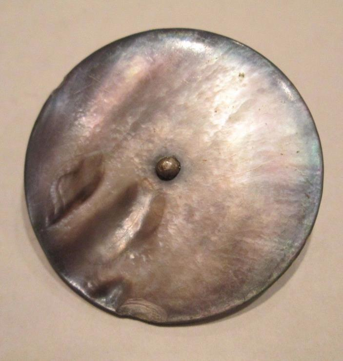 Antique Mother of Pearl Disc Button, Smokey Grey Iridescent, Metal Shank, 1 3/8