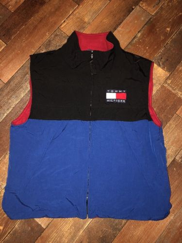Vintage RARE Tommy Hilfiger Big Logo Nylon Vest Jacket. Fleece Lined Mens Large