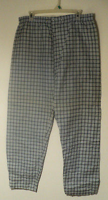 New Vintage MEN'S FLANNEL Blue PJ PANTS Sz: L Check Large Pajama Bottom