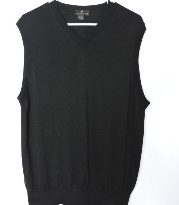 Toscano Black 100% Merino Wool Made In Italy V-Neck Pullover Sweater Vest Sz LG