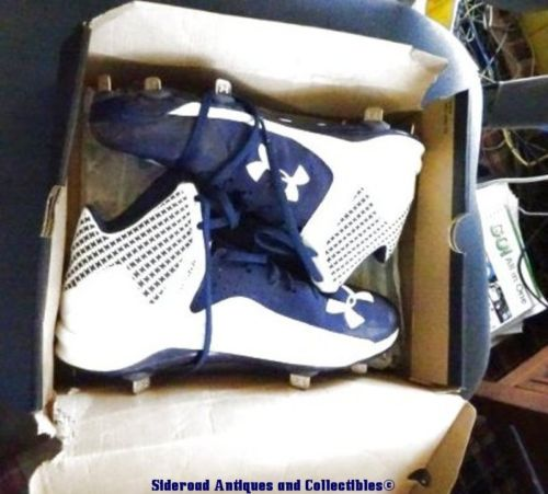 Under Armour UA Heater Mid ST Baseball Cleats Metal 1269047-011 Navy Blue White