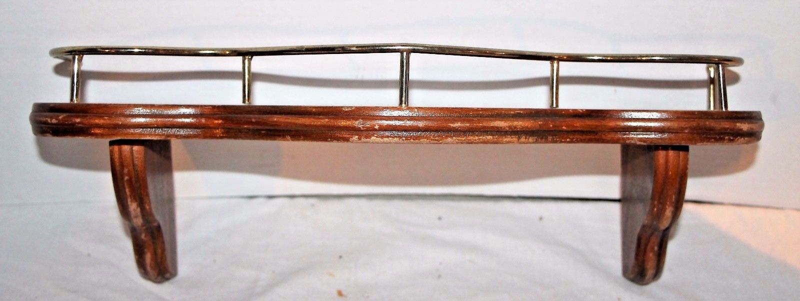 Vintage Wooden Single Shelf with Brass Edge Wall Decor Hanging